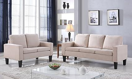 NHI Express Sarah Microfiber Sofa Set Beige