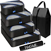 Bagail 6 Set Packing Cubes,Travel Luggage Packing Organizers with Laundry Bag Black