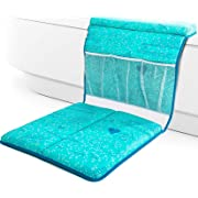 QueBébé Bath Kneeler and Elbow Cushioned Protection Set for Baby Bathing – Thick, Comfortable, Carefully Designed Bath Pads and Large Pockets Toy Organizer – Machine Washable