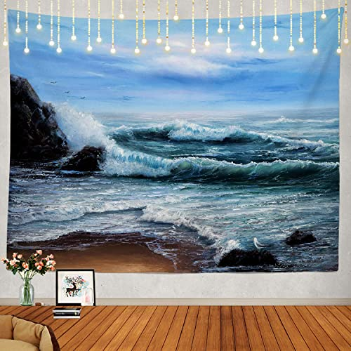 Shrahala Ocean Tapestry, Original Oil Painting Showing Waves in Ocean Sea Wall Hanging Large Tapestry Psychedelic Tapestry Decorations Bedroom Living Room Dorm 59.1 x 82.7 Inches, Blue 9