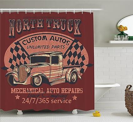 Mirryderr Man Cave Decor Shower Curtain North Truck Mechanical Auto Repairs Custom Autos Vintage Advertising