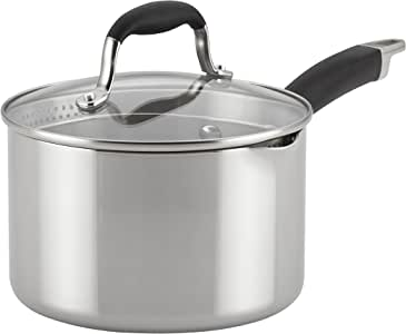 Anolon Advanced Stainless Steel Triply Sauce Pan/Saucepan with Straining and Lid, 3 Quart, Silver