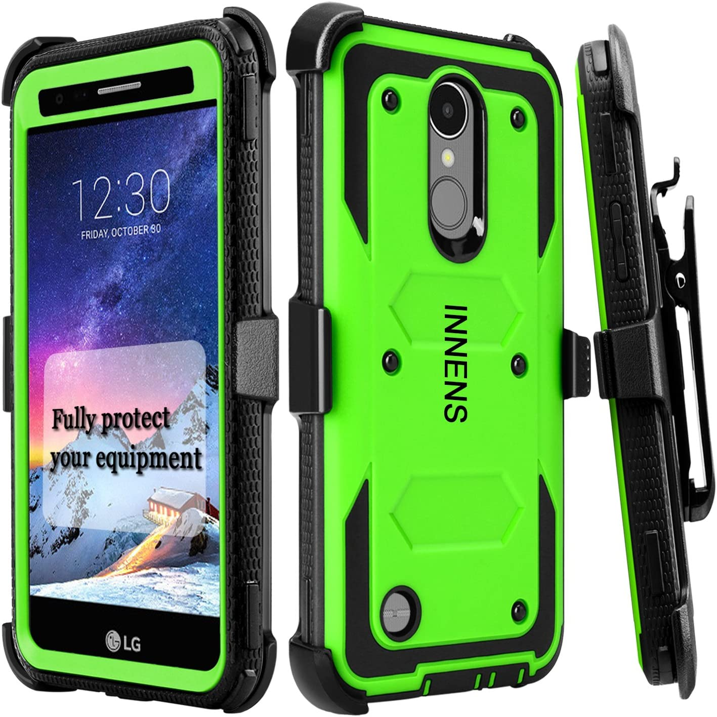 Innens Compatible LG Aristo 2 / LG Aristo 3 Plus/LG X210 / LG Tribute Dynasty Case, [Shockproof] Hybrid Heavy Duty Kickstand Case with Swivel Belt Clip Compatible LG K8 2017 / K4 2017 (Green)