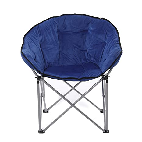 Awesome Ecolinear Oversized Folding Faux Fur Moon Saucer Chair Blue Adult Club Seat Alphanode Cool Chair Designs And Ideas Alphanodeonline