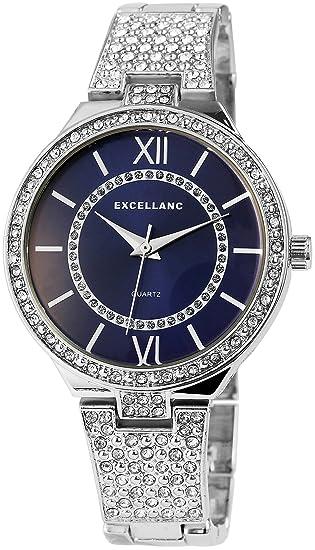 Reloj mujer azul plata números romanos metal Strass Reloj de pulsera