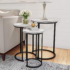 "Lavish Home Round Nesting Tables, Largest Dimensions: (Diameter) 17.75""x (H) 25"" Medium: (D) 15.75""x (H) 22.5"" Small: (D) 12""x (H) 20.25"", White"