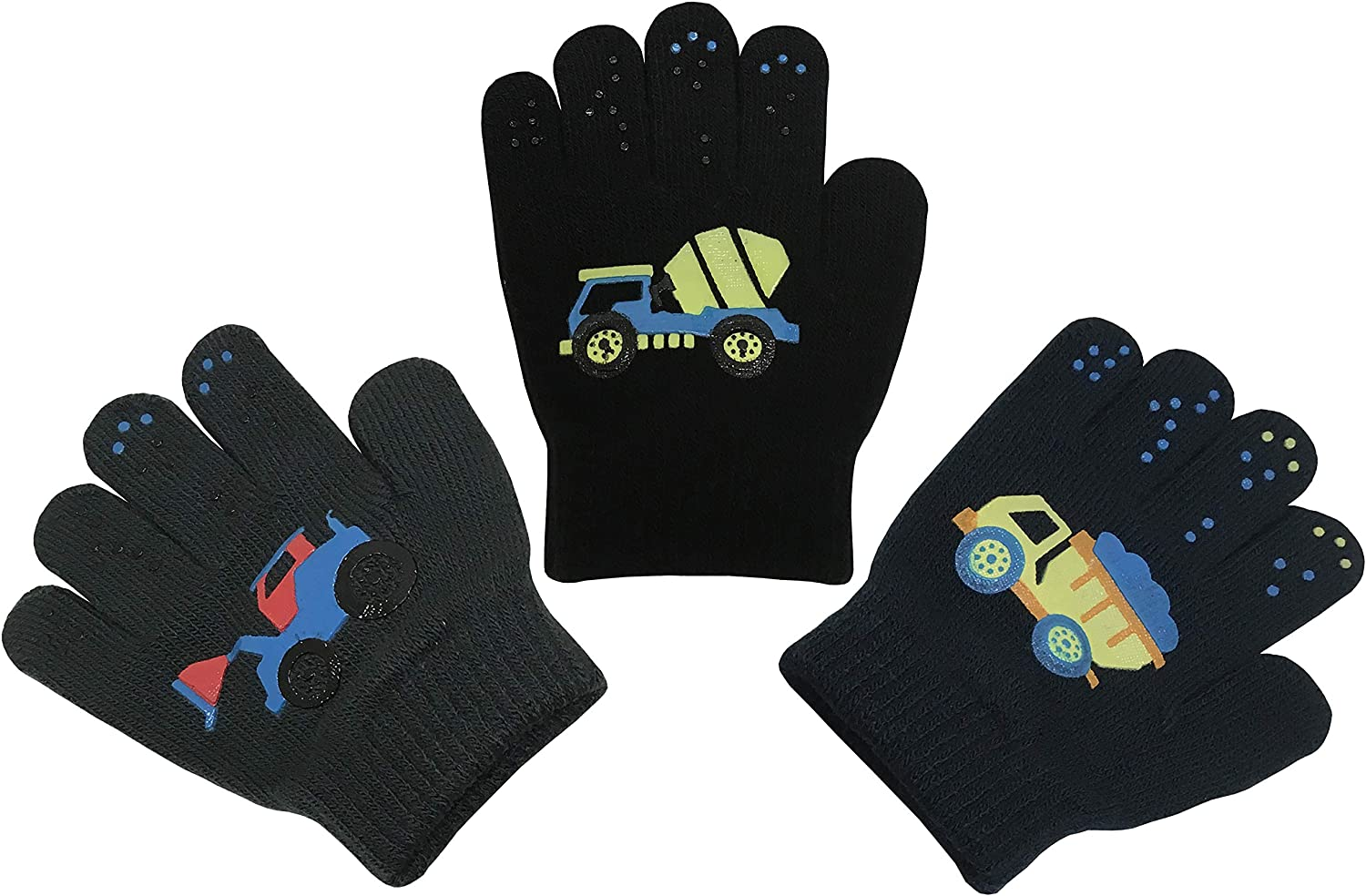 N'Ice Caps Boys Girls Magic Stretch Gloves 3 Pair Pack Assortment: Clothing