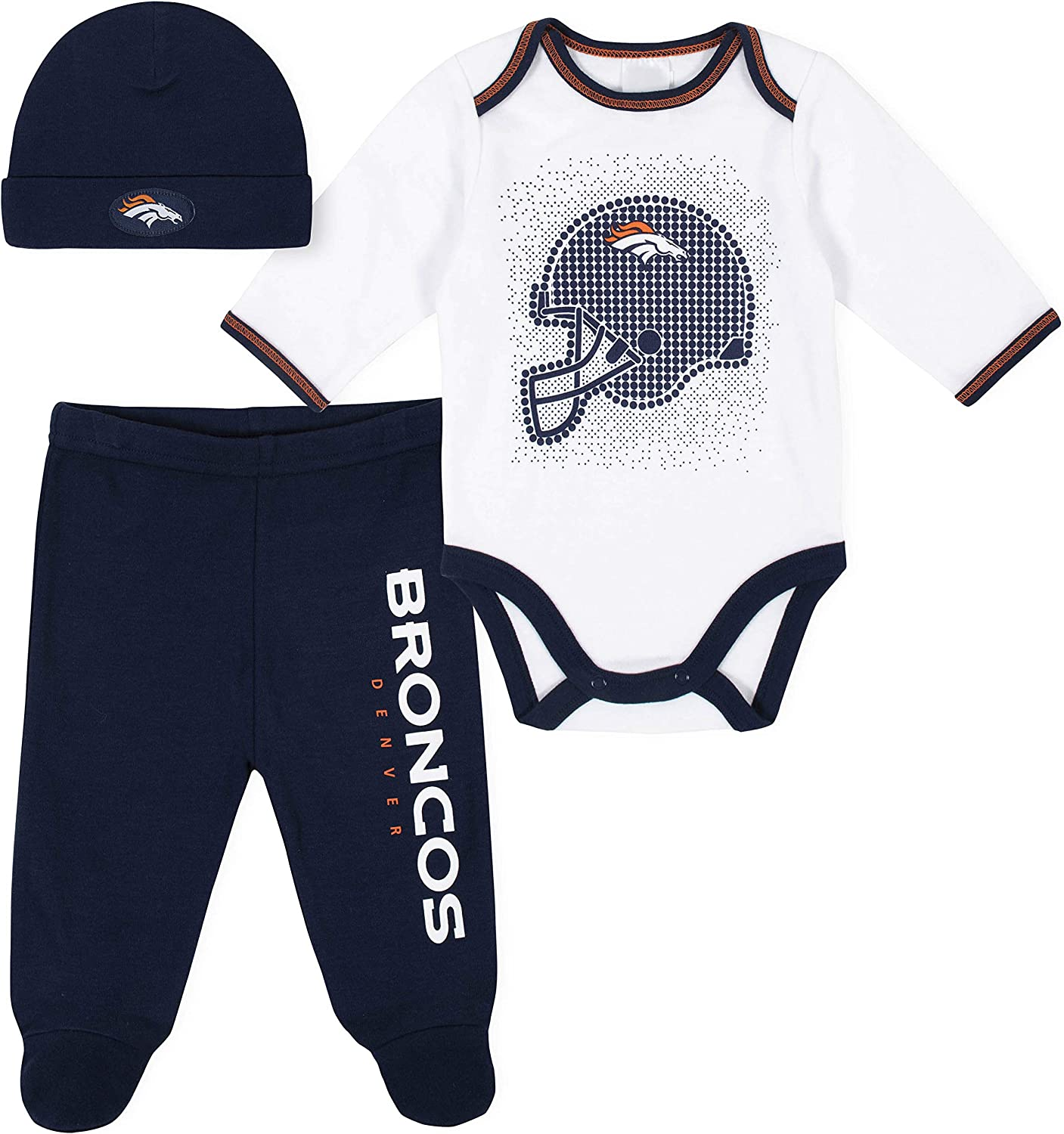 NFL Boys 3 Pack Bodysuit Footed Pant and Cap Registry Gift Set