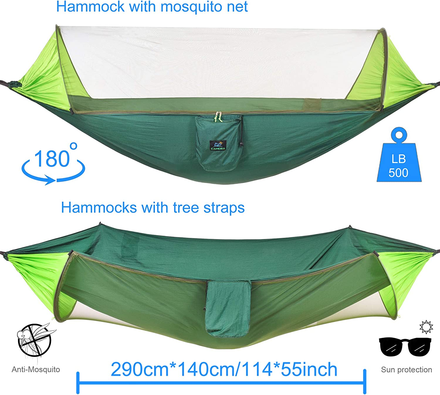 Garden Outdoor Windproof Hammock Tent Swing for Sleeping Ultra Lightweight Portable Camp Single//Double Hammock with Bug Net CAMDEA Camping Hammock with Mosquito Net for 2 Person Sport Travel