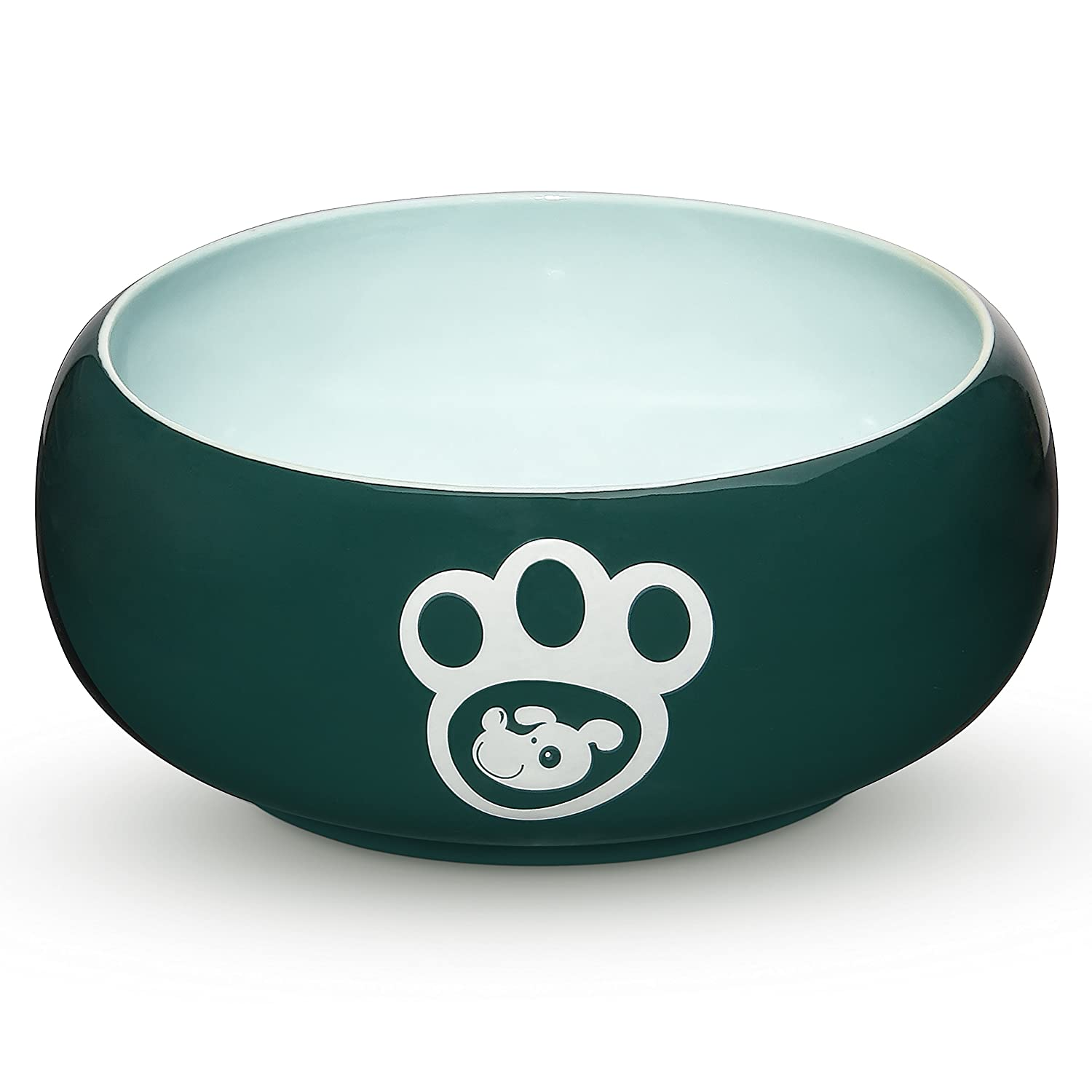 Green 55OZ Green 55OZ YHY Porcelain Dog Bowls Food Water, 55 oz Pet Feeder Bowl Delicate Paw Printed, Suitable Medium Large Size Dog Dish, Muticolor