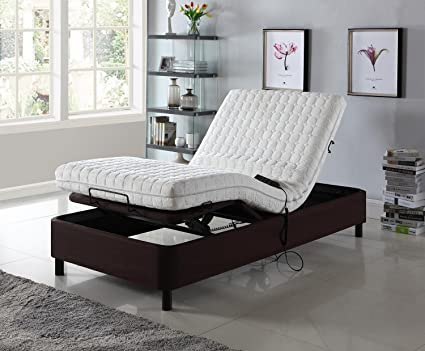 Home Life Electric Adjustable Platform Bed Frame With Remote Control    Linen Brown   Dual Adjustable