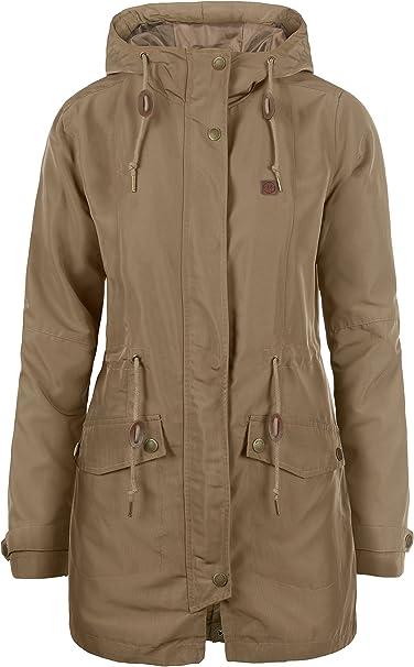 DESIRES Sakura Damen Übergangsjacke Parka Mantel warme Jacke gefüttert mit Kapuze