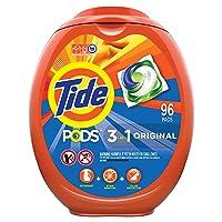 Tide PODS Laundry Detergent Liquid Pacs, Original Scent, HE Compatible, 96 Count...
