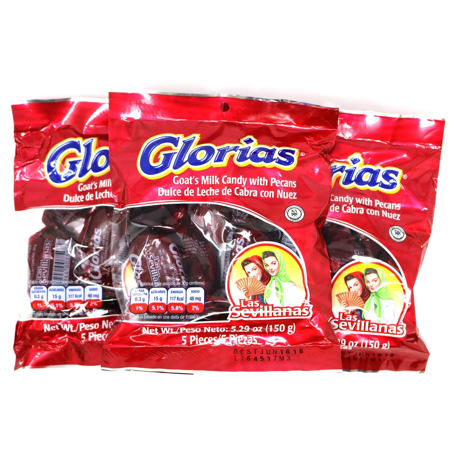 Amazon.com : Glorias Las Sevillanas - Goat Milk Candy with Pecans 15.87 oz - 15 Pieces (3 Packs, 5 Units/Pack) : Grocery & Gourmet Food