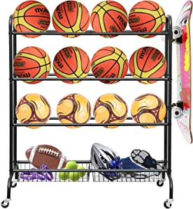 LUDING Rolling Sports Ball Storage Cart, Basketball Rack Threer-Layer Ball Holder with Two Metal Baskets for Garage Storage Garage Organizer