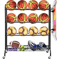 LUDING Rolling Sports Ball Storage Cart, Basketball Rack Threer-Layer Ball Holder with Two Metal Baskets for Garage…