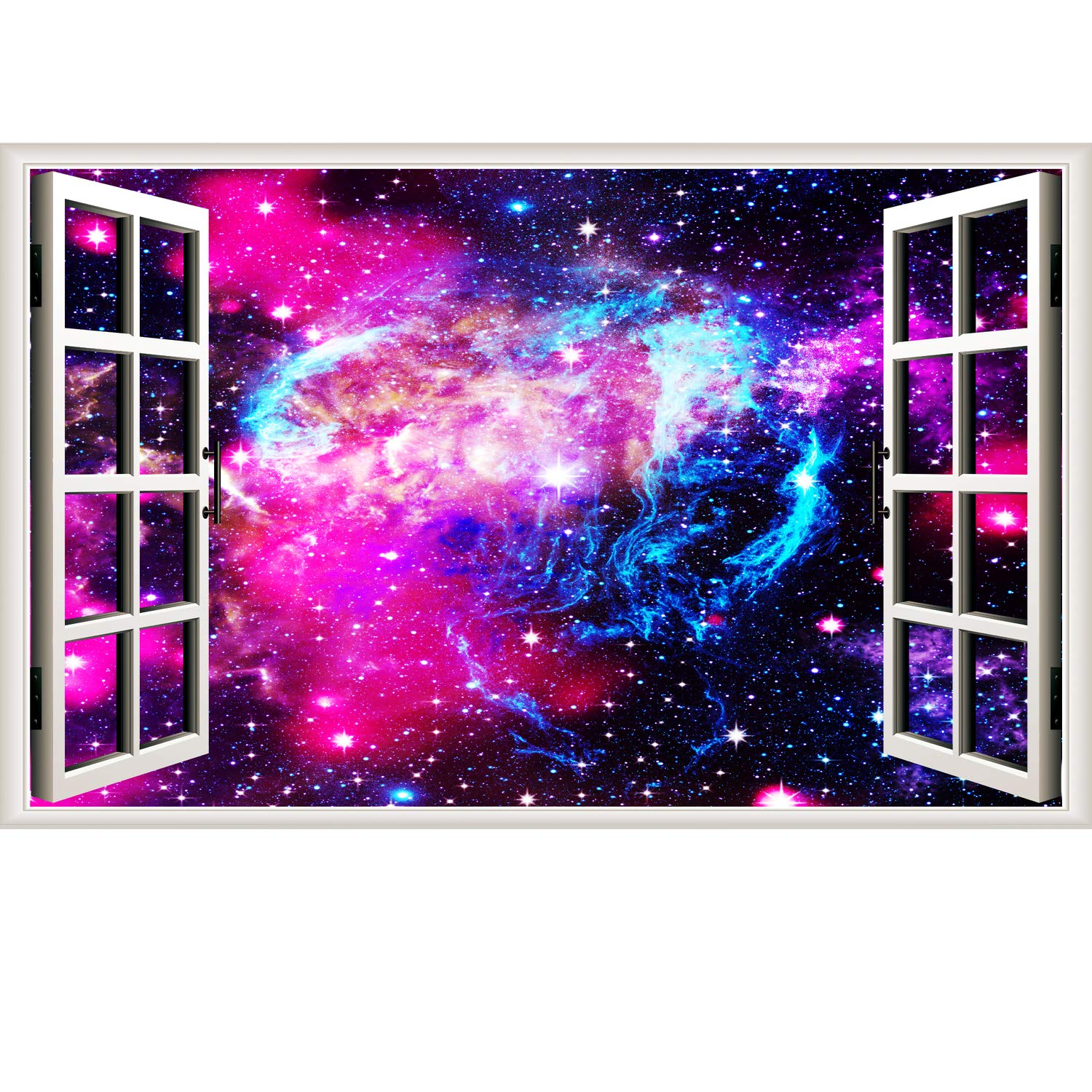 Rajahubri Starry Sky Window Wall Sticker Rose Red Space and Galaxy Fake Window Wall Decals Removable Outer Space Window View Wall Arts Decals Decors for Living Room
