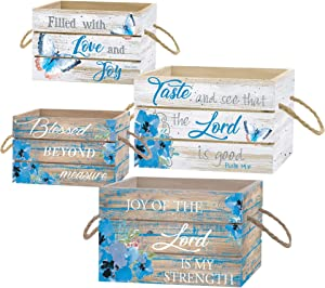 Divinity Boutique Filled with Love and Joy Teal Blue Floral 9 x 6 Wood Decorative Crate Box Set 4