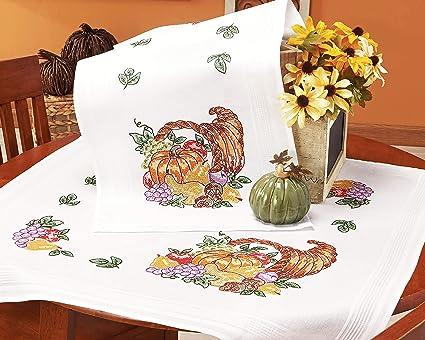 Stickpackung Tischdecke 80x80 Obst mit Kürbis Kreuzstich vorgezeichnet Baumwolle