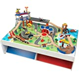 """KidKraft Railway Express Wooden Train Set & Table with 79 Pieces and Two Storage Bins, Multicolor, 83.9"""" x 31.1"""" x 13, 18012"""