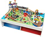 KidKraft Railway Express Wooden Train Set & Table with 79 Pieces