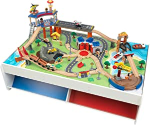 KidKraft Railway Express Wooden Train Set & Table with 79 Pieces and Two Storage Bins, Multicolor, 83.9