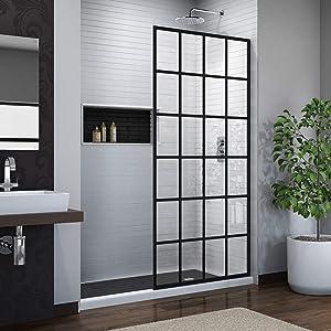 DreamLine SHDR-3234721-89 Linea Frameless Shower Door 34 in. x 72 in. Open Entry Design. French Finish, Satin Black
