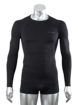 FALKE Running Unterwäsche Athletic Long Sleeved Shirt - Ropa interior deportiva para hombre, color negro