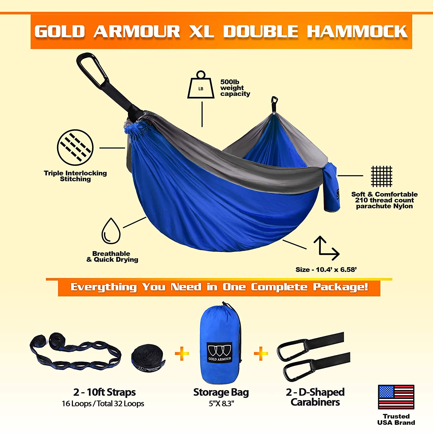 Gold Armour Camping Hammock – Extra Large Double Parachute Hammock 2 Tree Straps 16 Loops,10 ft Included USA Brand Lightweight Nylon Mens Womens Kids, Camping Accessories Gear