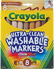 Crayola Markers, Multicultural Washable, 8-Count, School and Craft Supplies, Drawing Gift for Boys and Girls, Kids, Teens Ages 5, 6,7, 8 and Up, Holiday Toys, Stocking , Arts and Crafts