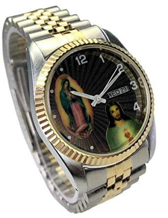 Reloj de Hombre Swanson Japan Watch Mens Two Tone Day-Date Con La Virgen de