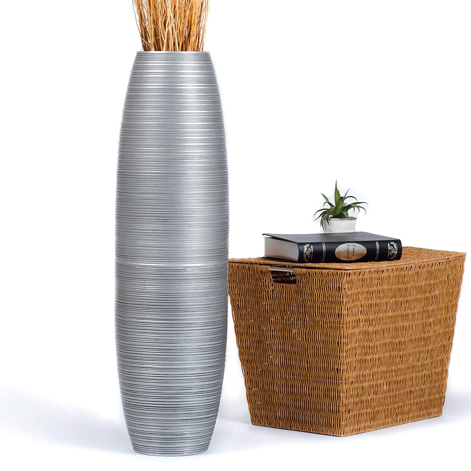 CDM product Leewadee Tall Big Floor Standing Vase For Home Decor, 10x36 inches, Wood, silver-coloured big image