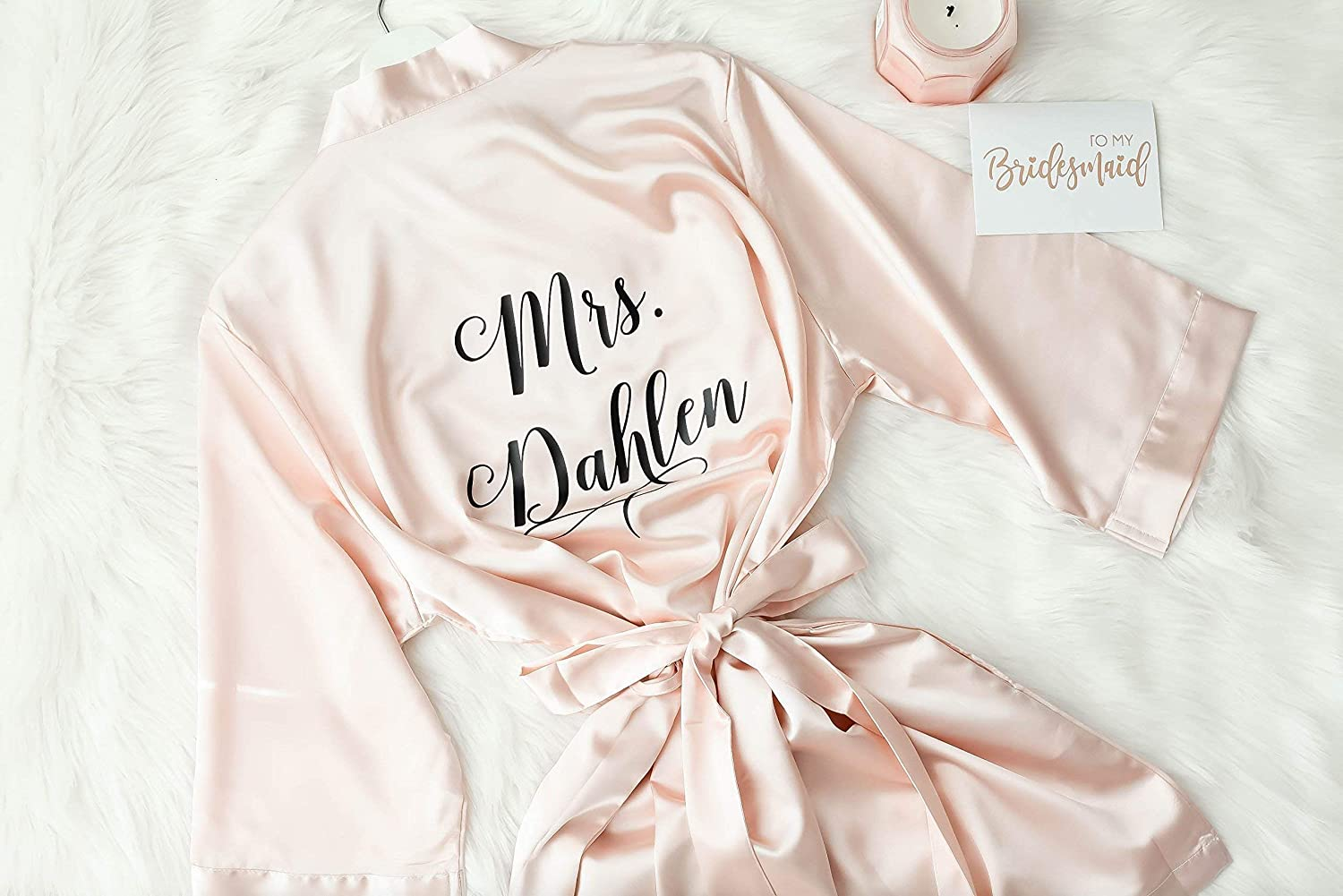 Joy Mabelle Women's Short Kimono Satin Robe for Brides and Bridesmaids, Customize Your Own Name or Title on Front or Back, Personalized Bridesmaid Robes Bridal Party, Bridal Party Gifts Ideas