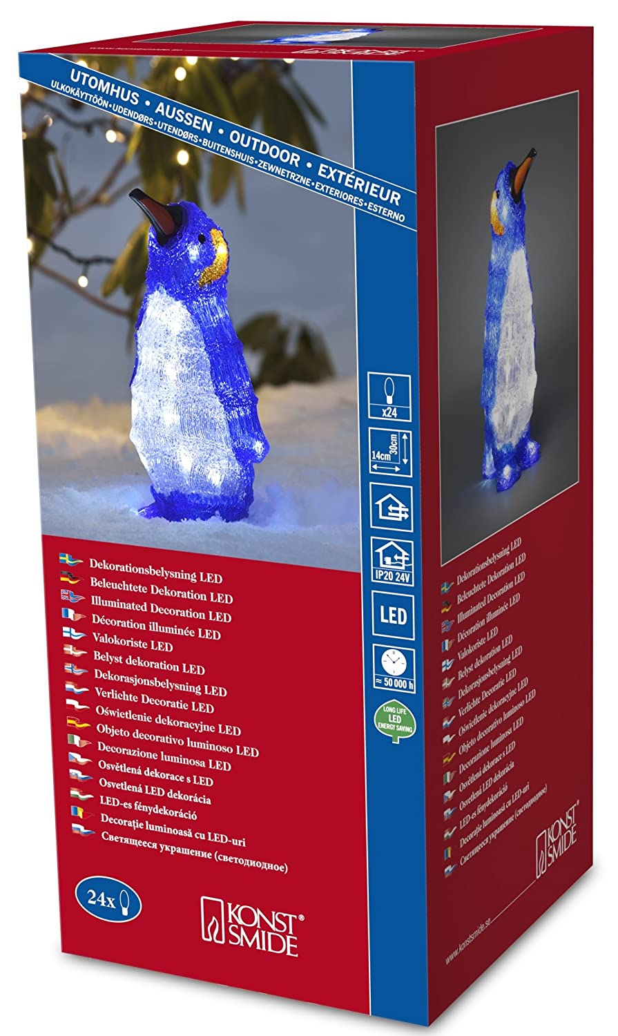 "Konstsmide 6187-203 LED Acrylic Decoration ""Baby Standing Penguin"" / Outdoor (IP44) / 24 Ice White LEDs / Transparent Cable"