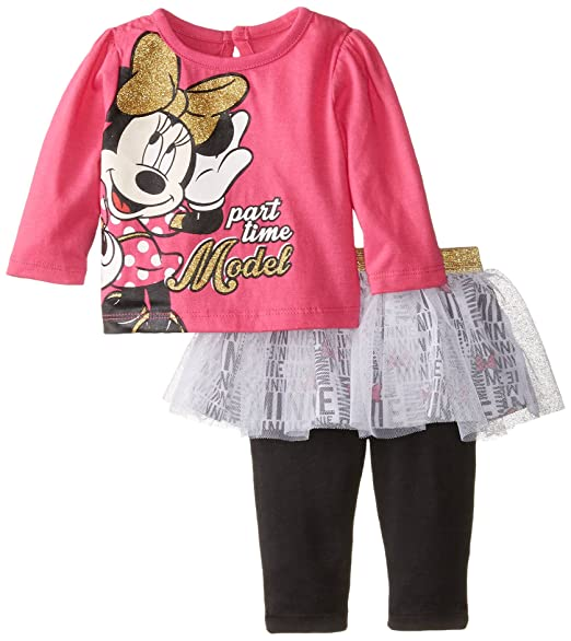8bef9d7fcbef Disney Baby Girls' Part Time Model Minnie Mouse 2 Piece Skegging Set,  Fuchsia Purple