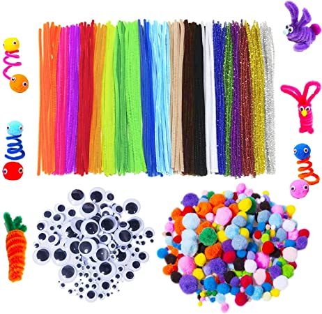ZHAOER 200 Pieces Chenille Stems 100 Pieces Glitter Pompoms and 150 Pieces Wiggle Googly Eyes for DIY Arts Crafts 250 Pieces 6 Sizes Assorted Pom Poms