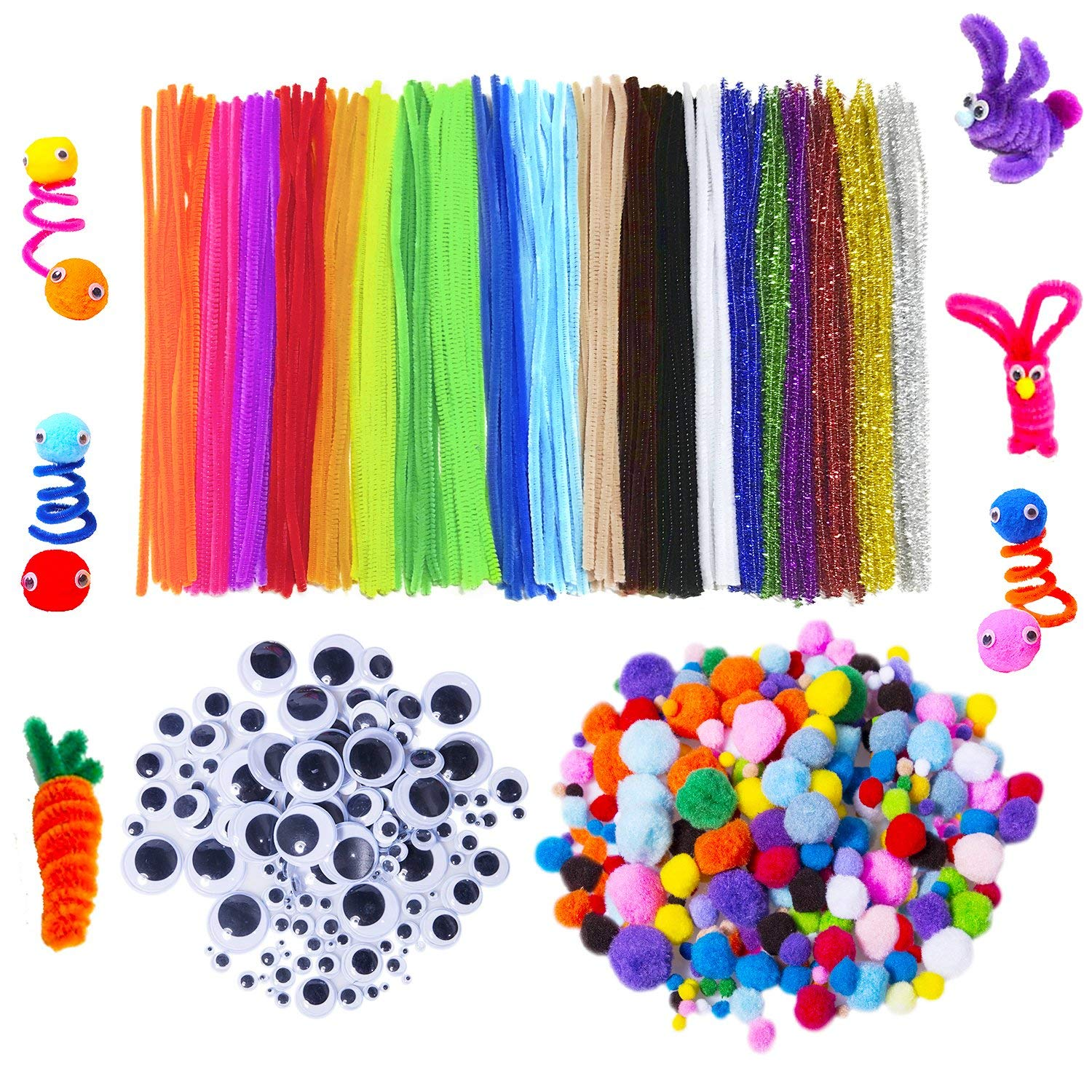 500 Pcs 6 Size Wiggle Googly Eyes and 100 Pcs Multi Sized Pompoms for DIY Art Supplies 650 Pcs Assorted Colors Pipe Cleaners Set Including 50 Pcs 10 Colors Craft Chenille Stems
