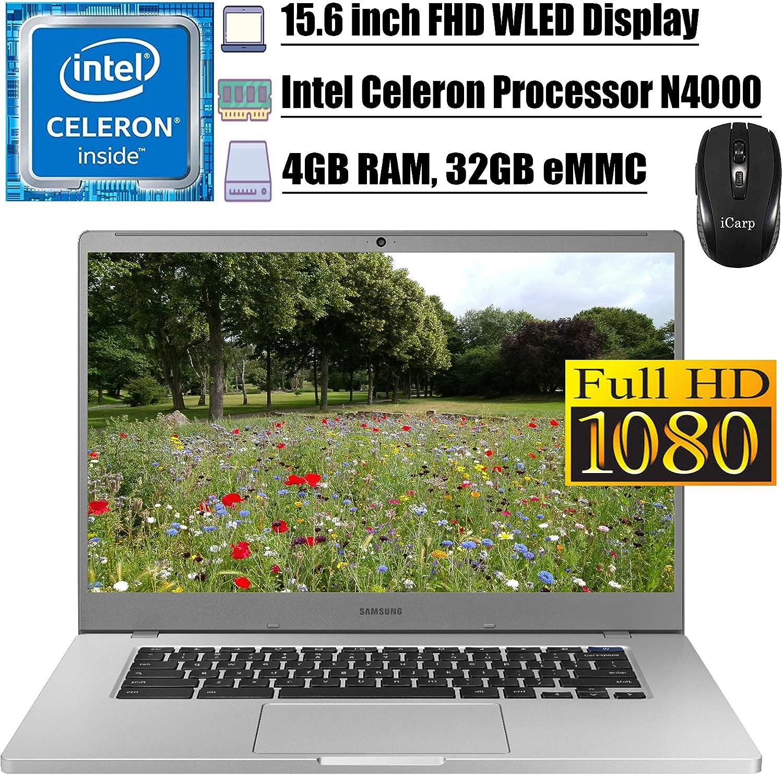 "2020 Latest Samsung Chromebook 4+ 15 Laptop Computer 15.6""FHD WLED Display Intel Celeron Processor N4000 4GB RAM 32GB eMMC USB-C Bluetooth WebcamChrome OS + iCarp Wireless Mouse"