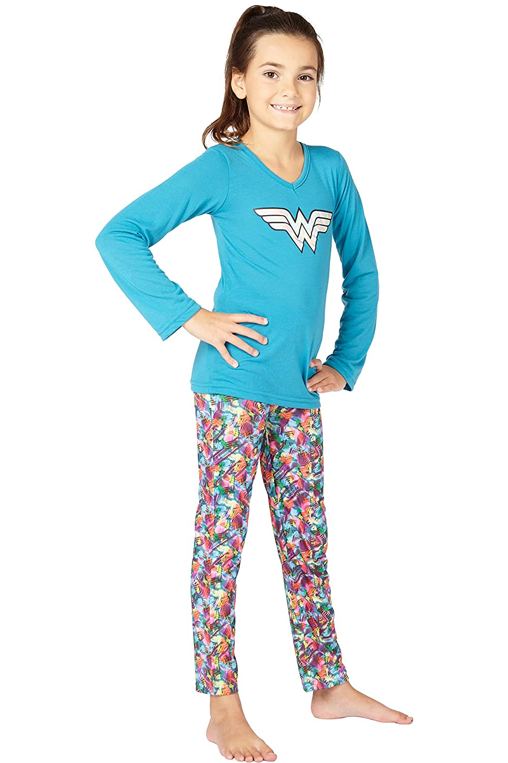 fc0b4f58de Amazon.com  Wonder Woman Big Girls  Wonder Woman Athletic Yoga Pajama Set