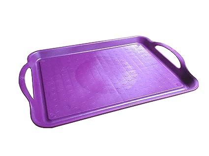 Bandeja de plástico para servir 11.6 pulgadas x 8 pulgadas Café púrpura Cafetería estándar, restaurante