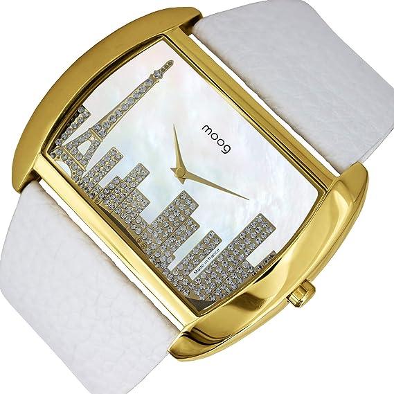 Moog Paris Skyline Reloj para Mujer con Esfera Nácar Blanca, Correa Blanca de Piel Genuina