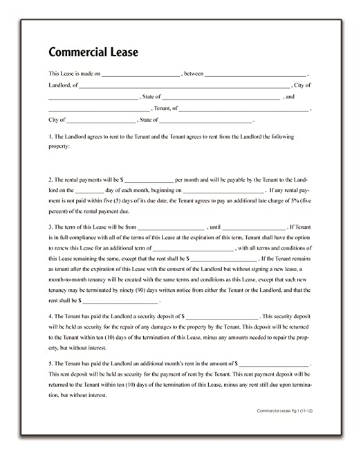 Adams Commercial Lease Forms And Instructions Lf140