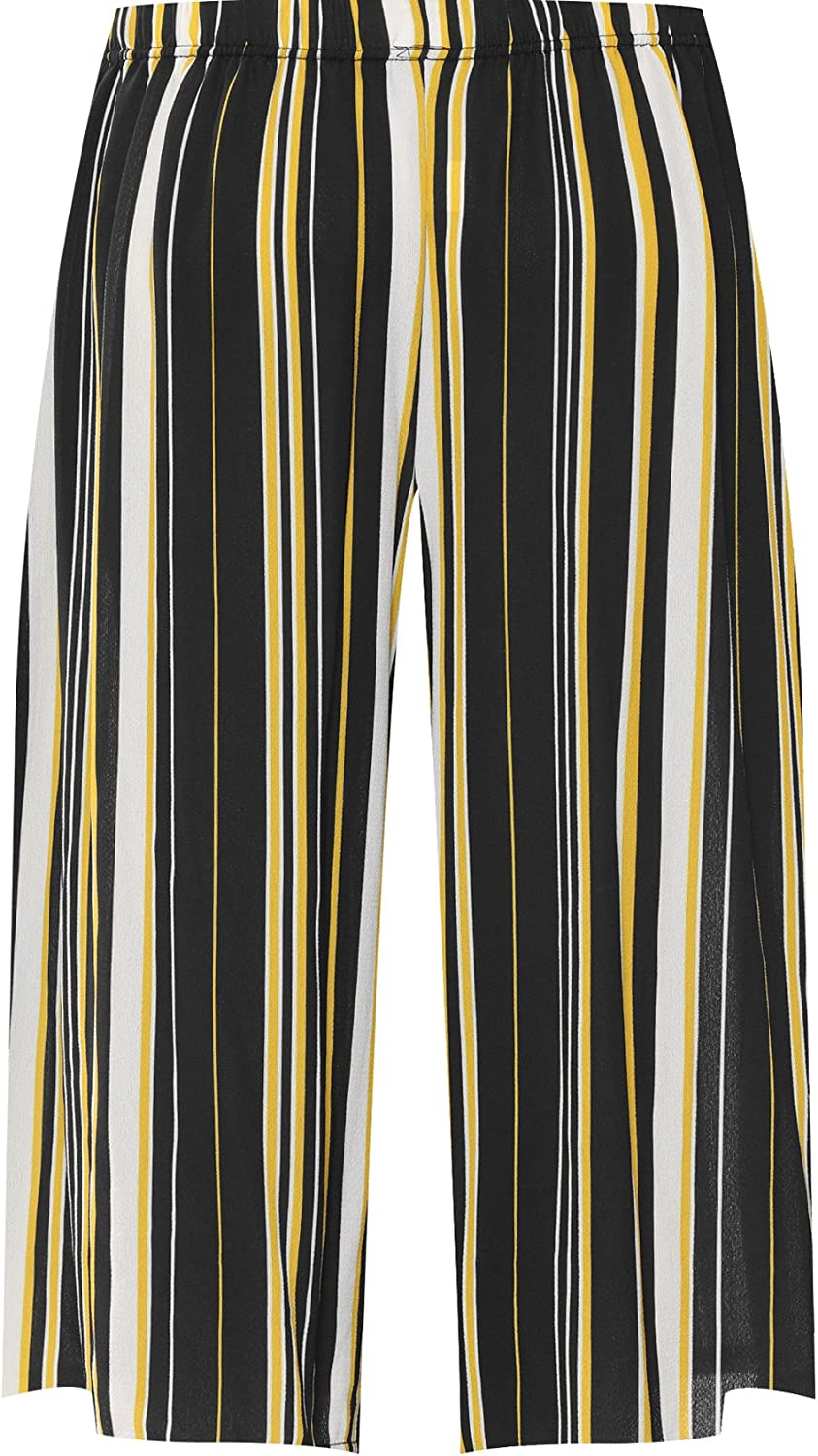 WearAll Womens Stretch High Waisted Wide Leg Multi Striped Print Culottes Ladies Shorts 12-26