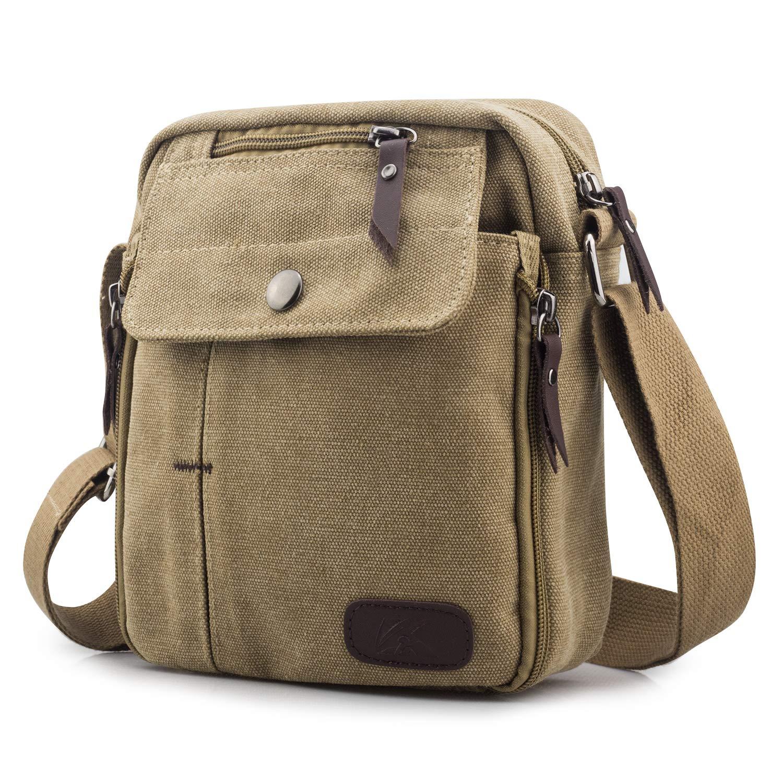 SPAHER Men Small Shoulder Bag Canvas Satchel Unisex Sling Travel Messenger Bag School Casual College Backpack for Cellphones Kindle Black