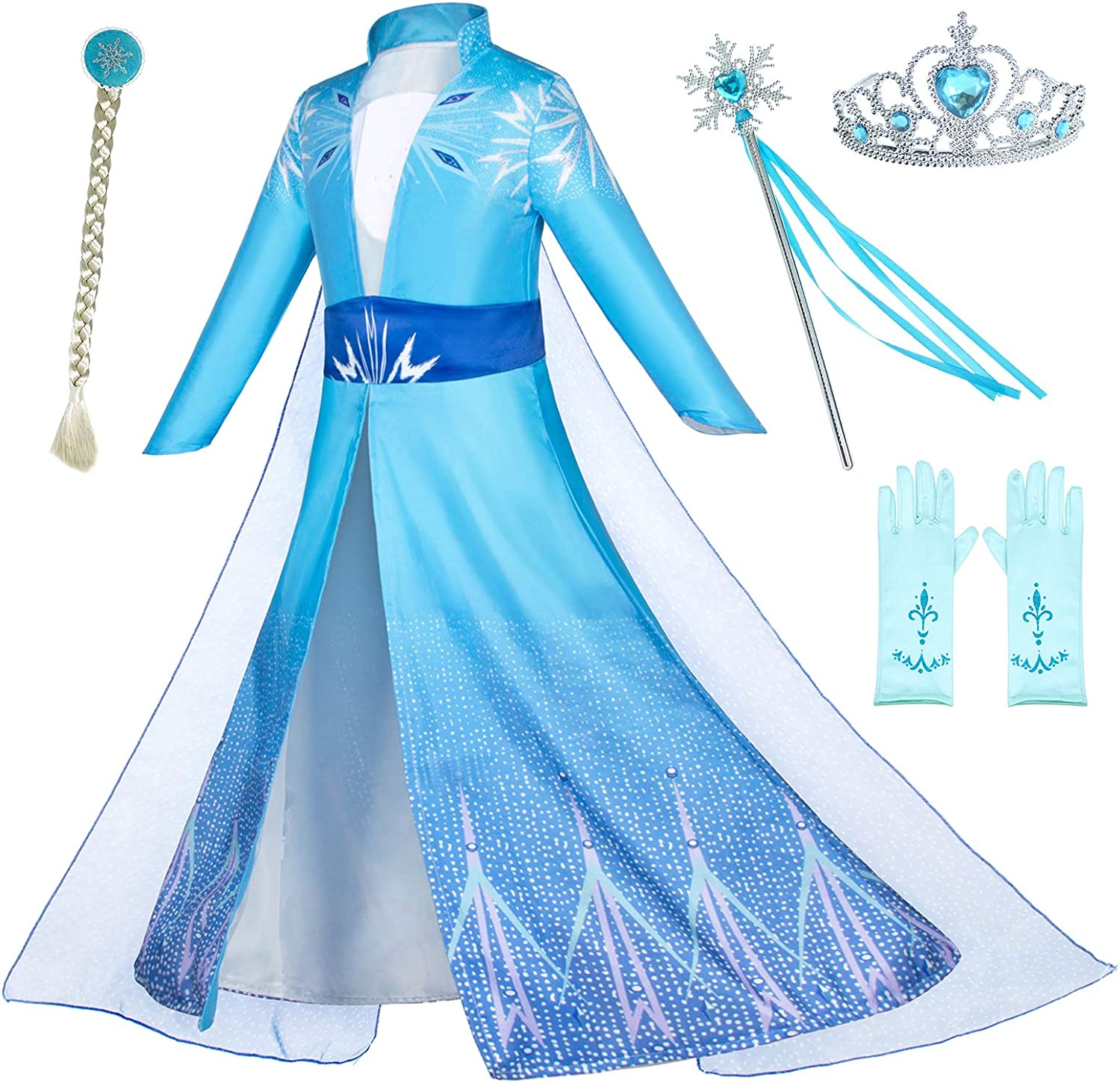 Coznny Princess Snow Queen Act 2 Costumes with Wig,Crown,Mace,Gloves Accessories 3T-10