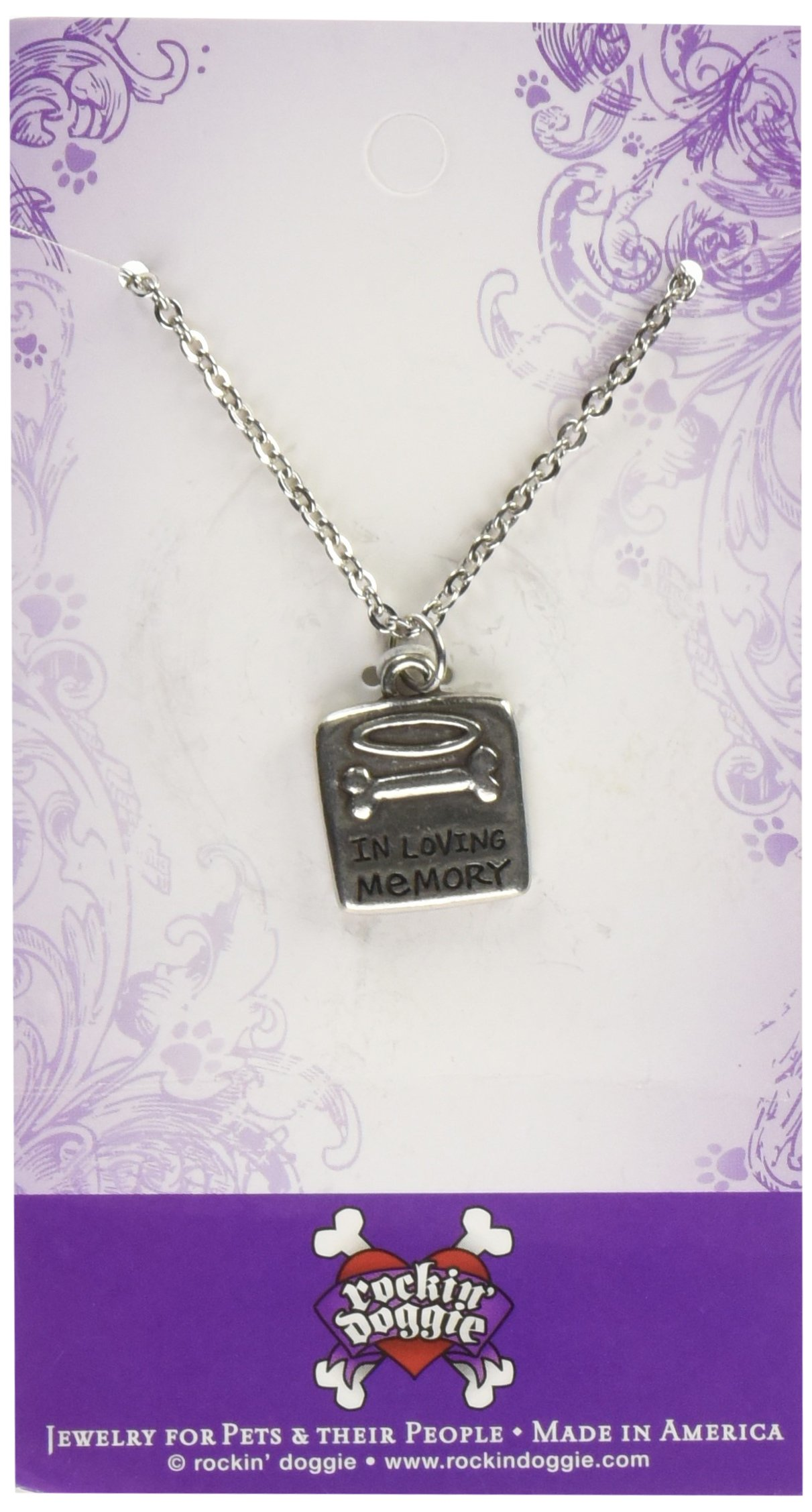 Rockin Doggie Pewter Memorial Necklace, In Loving Memory