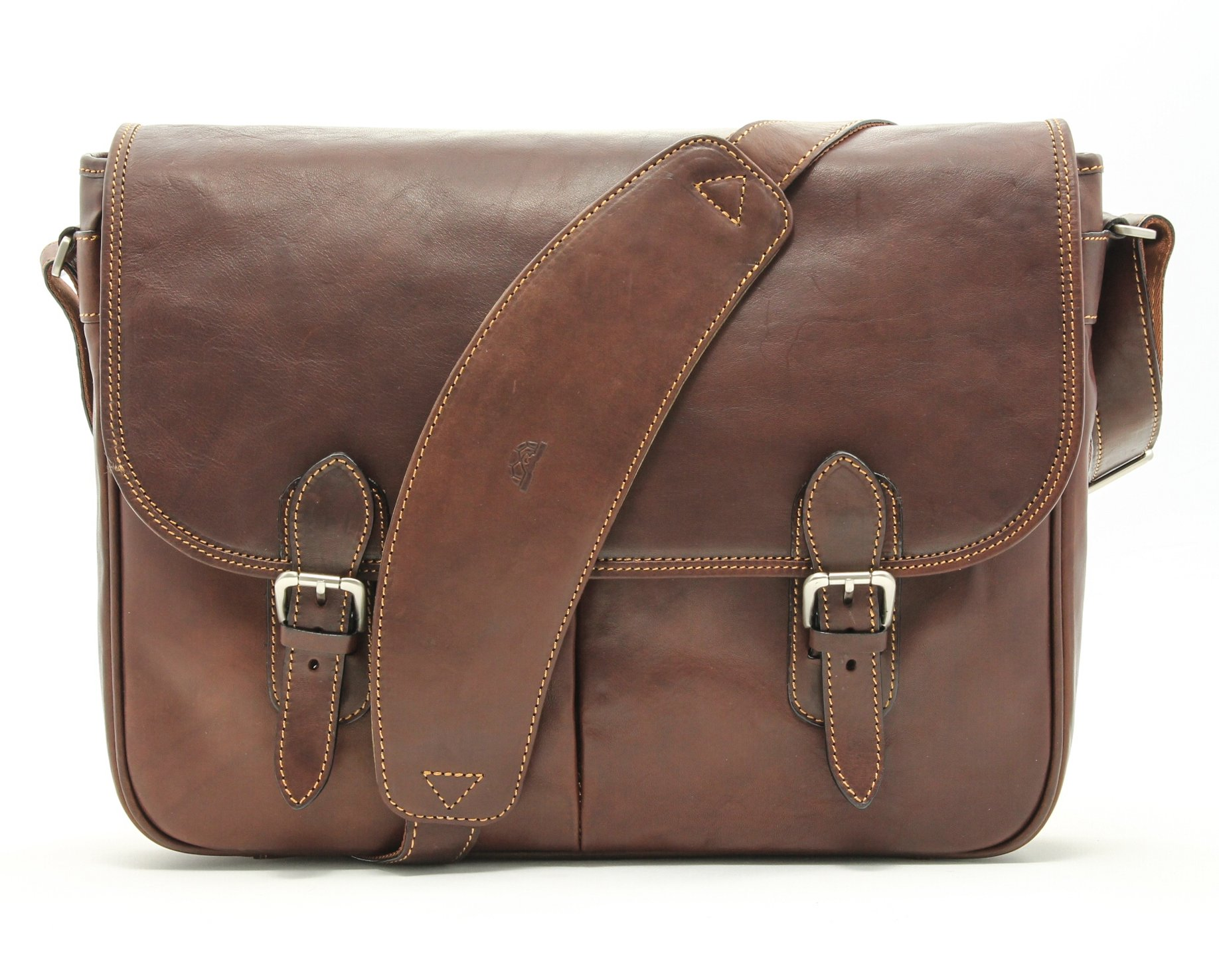 Tony Perotti Italian Leather Lorenzo 15.6'' Laptop Briefcase Messenger Shoulder Bag, Brown, One Size