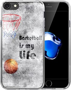 IWONE 6S Plus Case/6 Plus Case Basketball Printed Cute Rubber Durable Protective Skin Cover Patterned Compatible with iPhone 6/6S Plus + Creative Pattern Basketball Writings Sports