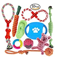 Dog Chew Toys for Aggressive Chewer | Multiple Choice Dog Rope Toys by FONPOO | Durable | Interesting Dog Interactive Toys | 100% Safe Best for Small to Medium Dogs | 10 Pack Gift Set