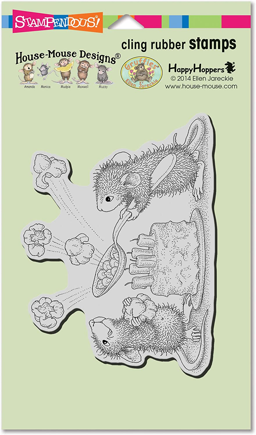 Grey Stampendous HMCR125 House Mouse Cling Stamp-Popcorn Birthday